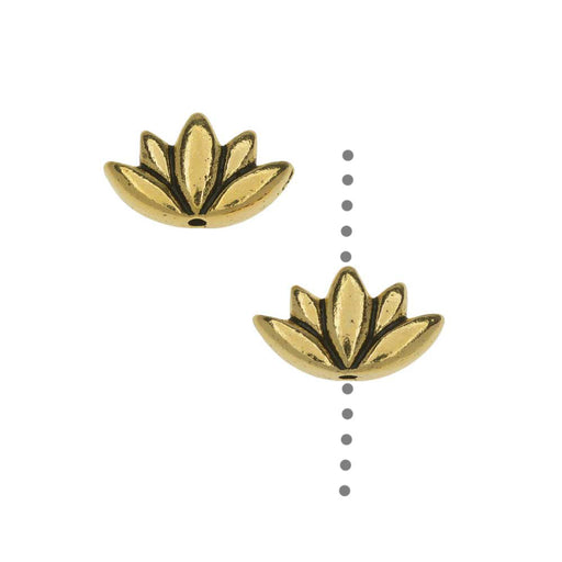 TierraCast Pewter Beads, Lotus Flower Design 7x11.5mm, 2 Pieces, Antiqued Gold Plated