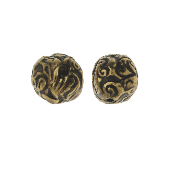 TierraCast Bead, Flora Round 8mm, 2 Pieces, Brass Oxide Finish