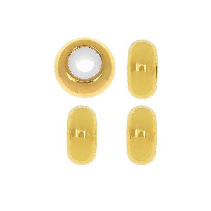 Adjustable Slider Clasp, Round with Silicone Center 8mm, 4 Pieces, Gold Tone