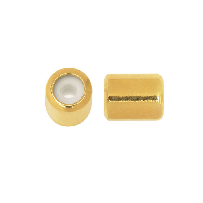 Adjustable Slider Clasp, Tube with Silicone Center 5.5x6.8mm, 4 Pieces, Gold Tone