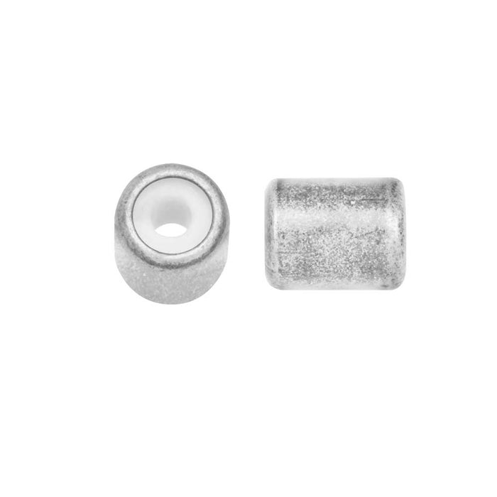 Adjustable Slider Clasp, Tube with Silicone Center 5.5x6.8mm, 4 Pieces, Antiqued Silver Tone