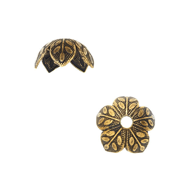 Nunn Design Bead Caps, 9mm Etched Daisy Design, 4 Pieces, Antiqued Gold