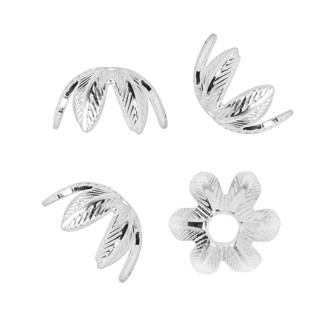 Nunn Design Bead Caps, 9mm Daisy, 4 Pieces, Bright Silver