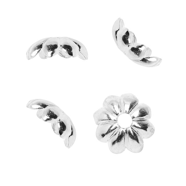 Nunn Design Bead Caps, 6mm Floral Petals, 4 Pieces, Bright Silver