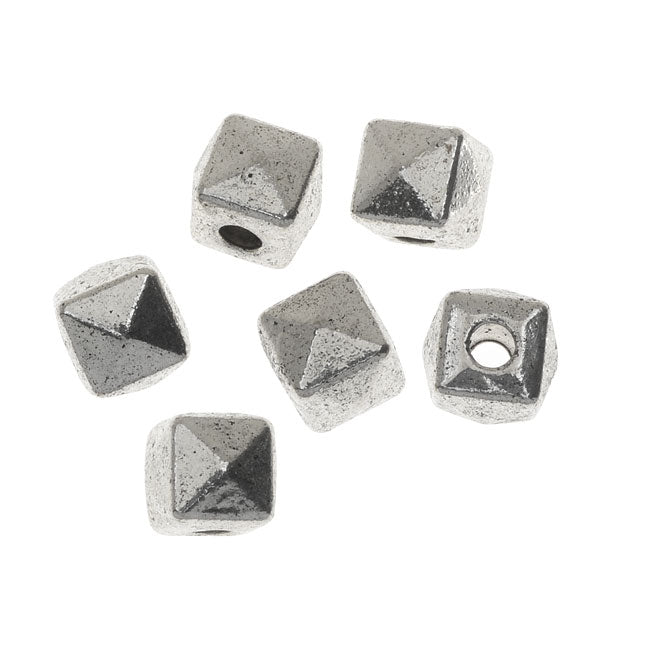 Lead-Free Pewter Beads, Faceted Cubes 7mm, 6 Pieces, Antiqued Silver