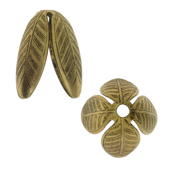 Nunn Design Bead Caps, Grande Leaf 14mm, 2 Pieces, Antiqued Gold