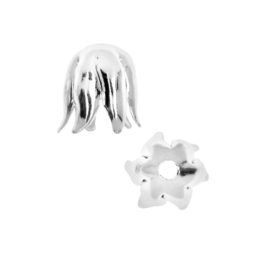 Nunn Design Bead Caps, Curled Petal 8mm, 2 Pieces, Bright Silver
