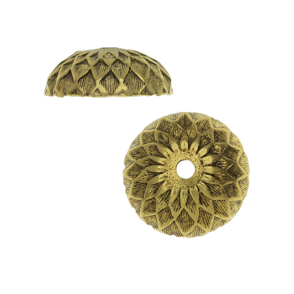 Nunn Design Bead Caps, Acorn 11.5mm, 2 Pieces, Antiqued Gold