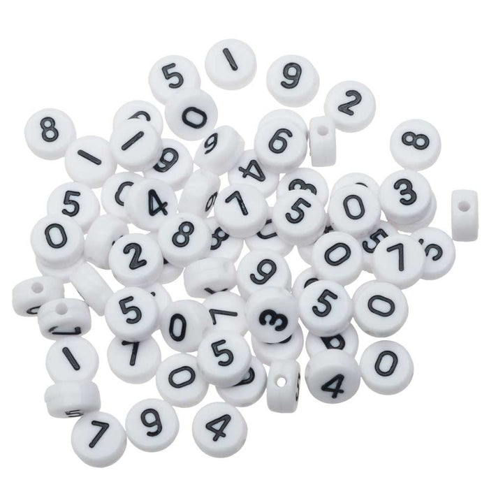 "Acrylic Beads, Assorted Numbers ""0-9"", Coin Shape 7mm, 10 Grams"