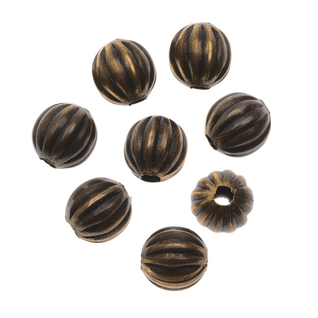 Vintaj Natural Brass, Round Fluted Melon Beads 6.3mm, 8 Pieces