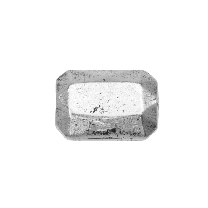 Metal Bead, Faceted Rectangle 9x13mm, Antiqued Silver, 1 Piece, by Nunn Design