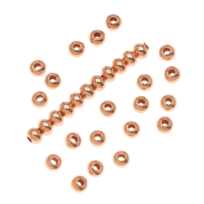 Real Copper Round Rondelle Beads 2.5 x 3 mm (50)