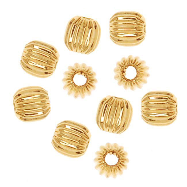 22K Gold Plated Corrugated Round Beads 3mm (20)