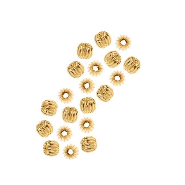 Gold Plated Corrugated Round Metal Beads 4mm (20)