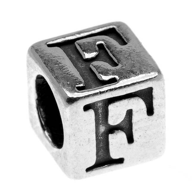 Sterling Silver, Alphabet Cube Bead Letter 'F' 4.5mm, 1 Piece, Antiqued