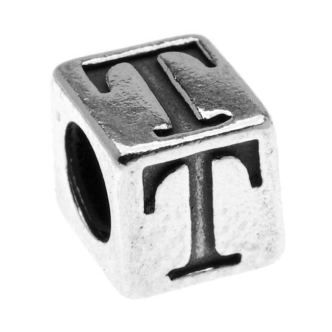 Sterling Silver, Alphabet Cube Bead Letter 'T' 4.5mm, 1 Piece, Antiqued