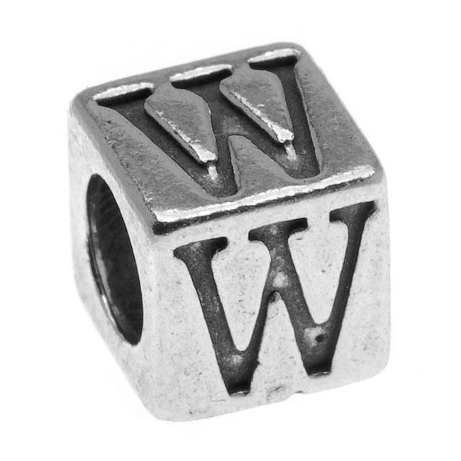 Sterling Silver, Alphabet Cube Bead Letter 'W' 4.5mm, 1 Piece, Antiqued