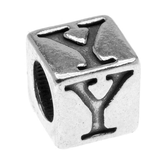Sterling Silver, Alphabet Cube Bead Letter 'Y' 4.5mm, 1 Piece, Antiqued