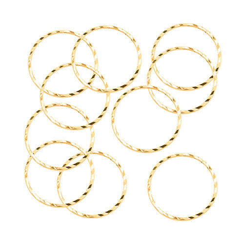 Beadalon Gold Tone Diamond Cut Links 20mm Round (10 Pcs)