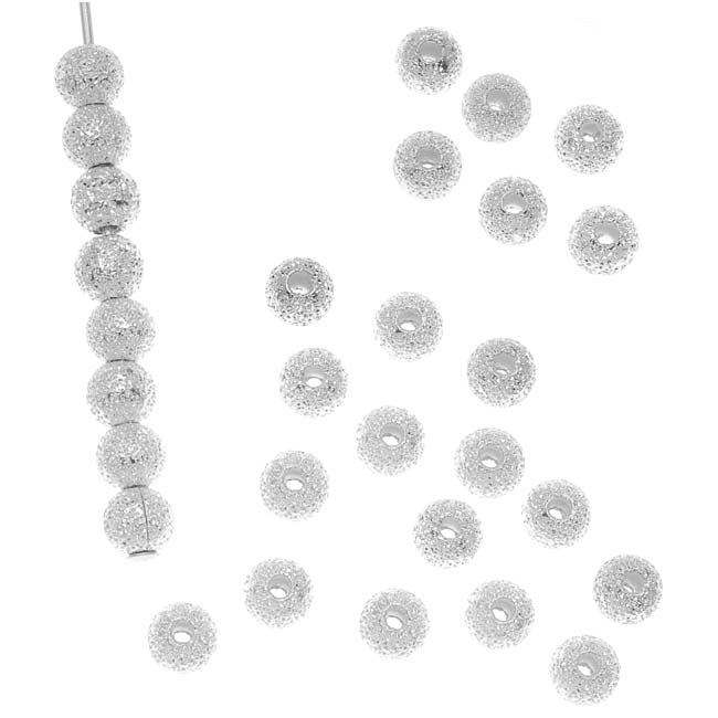 Silver Plated Stardust Sparkle Round Beads 4mm (50)