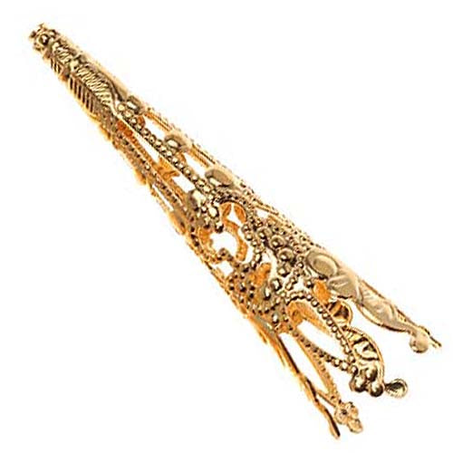 22K Gold Plated Long Filigree Cone Beads 40mm (4)