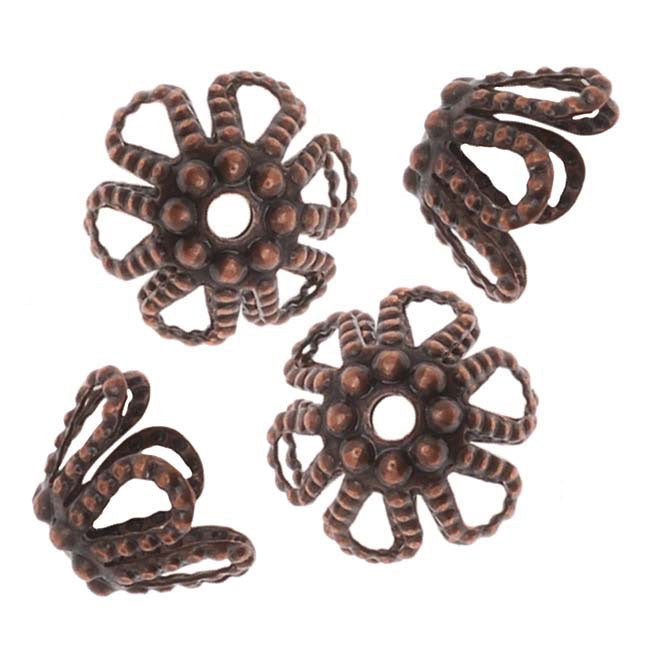 Antiqued Copper Beaded Openwork Flower Bead Caps 7mm (50)