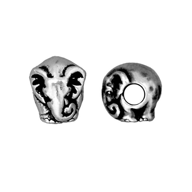 TierraCast Silver Plated Pewter European Style Large Hole Elephant Bead 11mm (1)