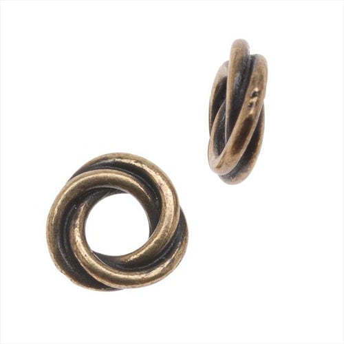 TierraCast Brass Oxide Finish Lead-Free Pewter Love Knot Triple Twist Spacer Beads 8mm (2)