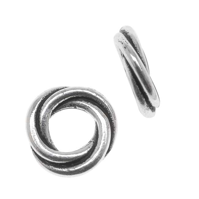 TierraCast Silver Plated Lead-Free Pewter Love Knot Triple Twist Spacer Beads 10mm (2)