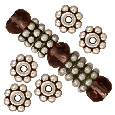 TierraCast Fine Silver Plated Pewter Daisy Spacer Beads 6mm (10)