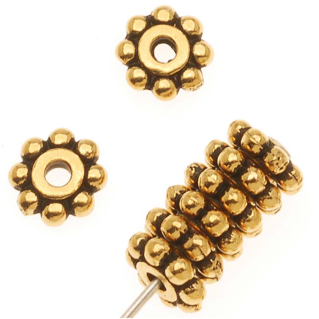 TierraCast 22K Gold Plated Pewter Daisy Spacer Beads 6mm (10)