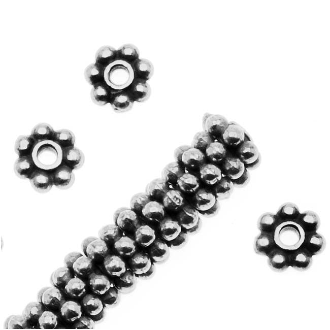 TierraCast Fine Silver Plated Pewter Daisy Spacer Beads 4mm (x 50)