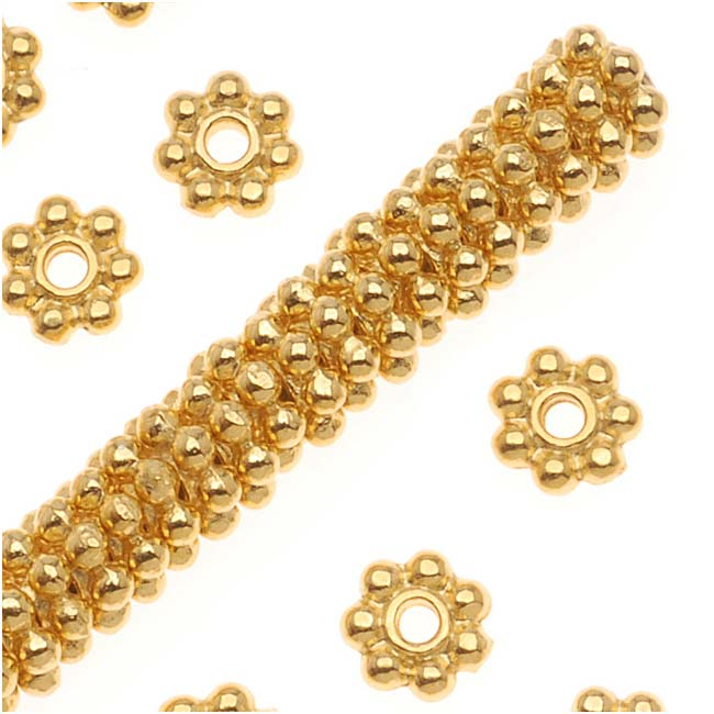 TierraCast Fine Bright 22K Gold Plated Pewter Daisy Spacer Beads 4mm (50)