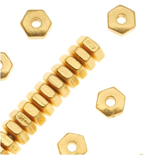 TierraCast 22K Gold Plated Pewter Hexagon Spacer Beads 3.8mm (50)