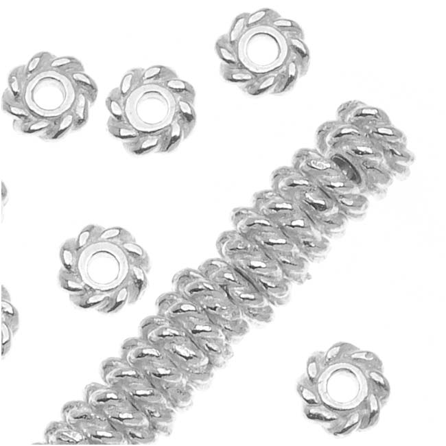 TierraCast Bright Silver Plated Pewter Twist Edge Spacer Beads 4mm (50)