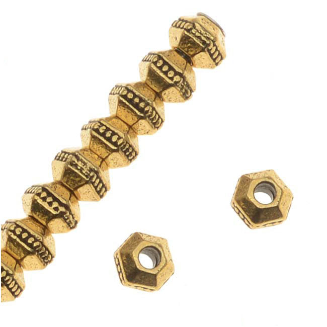 TierraCast Antiqued 22K Gold Plated Pewter Hexagon Rondelle Beads 3mm (50)