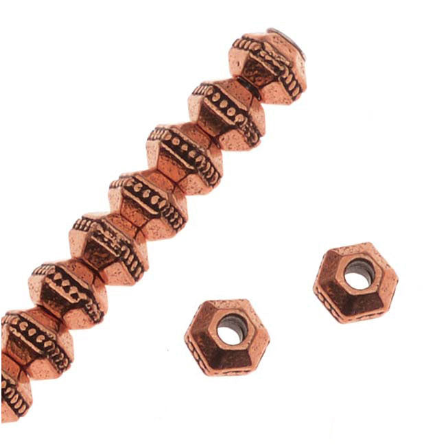 TierraCast Antiqued Copper Plated Pewter Hexagon Rondelle Beads 3mm (50)