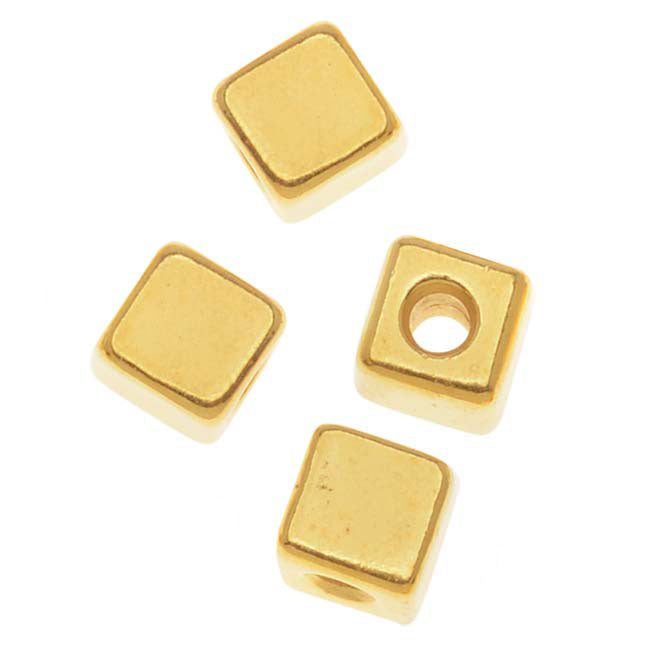 TierraCast Real 22K Gold Plated Pewter Square Cube Beads 4mm (8)