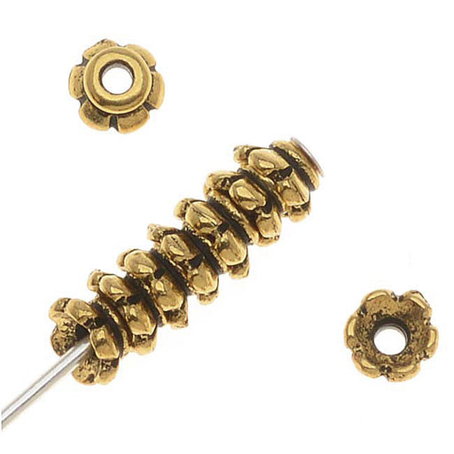 "TierraCast 22K Gold Plated Pewter ""Scalloped"" Bead Caps 3.5mm (x 12)"