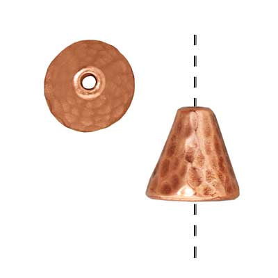 TierraCast Copper Plated Pewter Hammered Cone Bead Caps 8mm (x2)