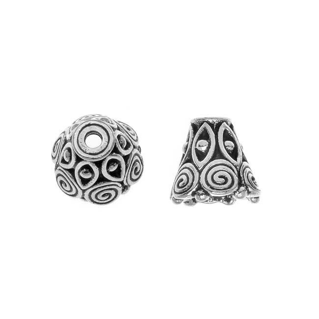 TierraCast Fine Silver Plated Pewter 'Spiral' Cone Bead Caps 8.5mm (x 2)