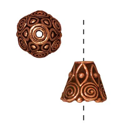 TierraCast Copper Plated Pewter Spiral Cone Bead Caps 8.5mm (x 2)