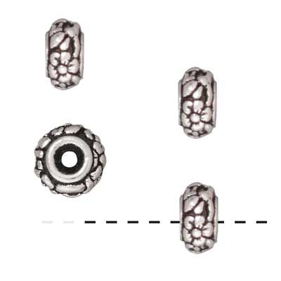 TierraCast Fine Silver Plated Pewter Meadow Rondelle Beads 6.5mm (4)