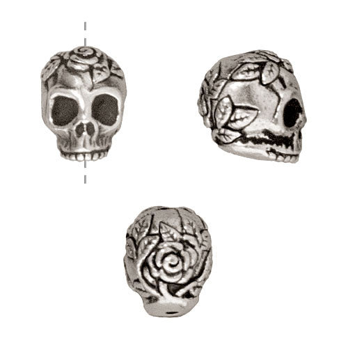 TierraCast Fine Silver Plated Pewter Skull With Roses Beads 10mm (2)