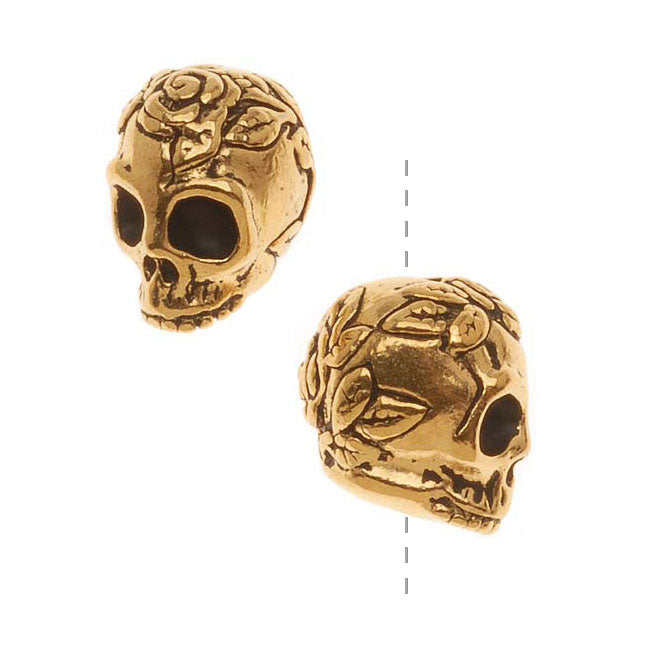 TierraCast 22K Gold Plated Pewter Skull With Roses Beads 10mm (2)