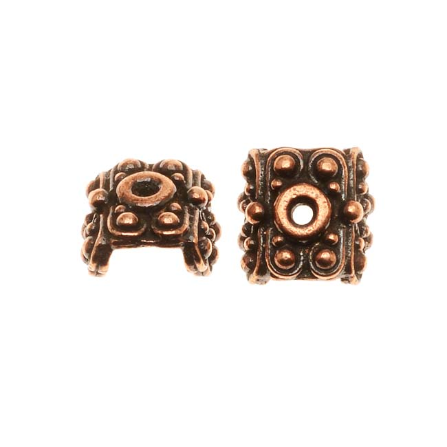 TierraCast Copper Plated Pewter Raja Bead Pendant Caps 5.6mm (x 2)