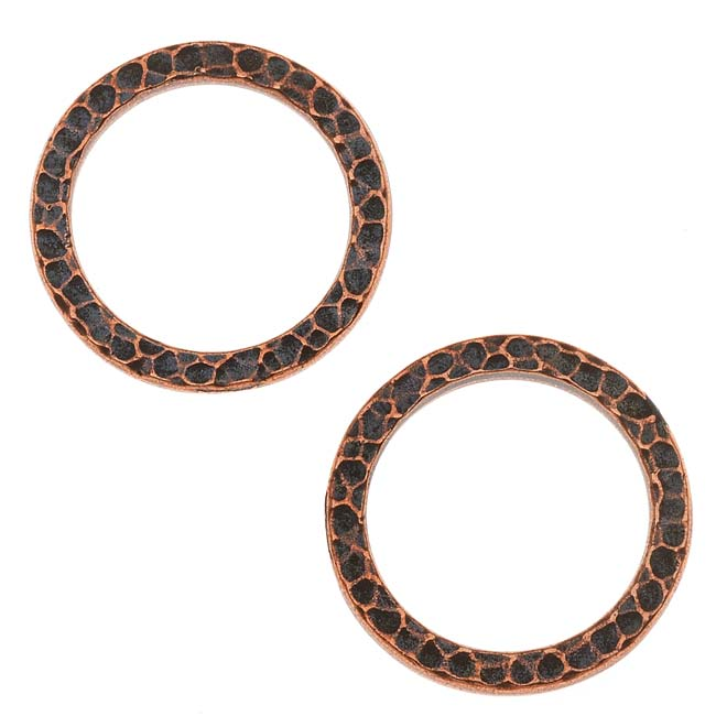 TierraCast Copper Plated Pewter Round 20mm Connector Link Ring (2)