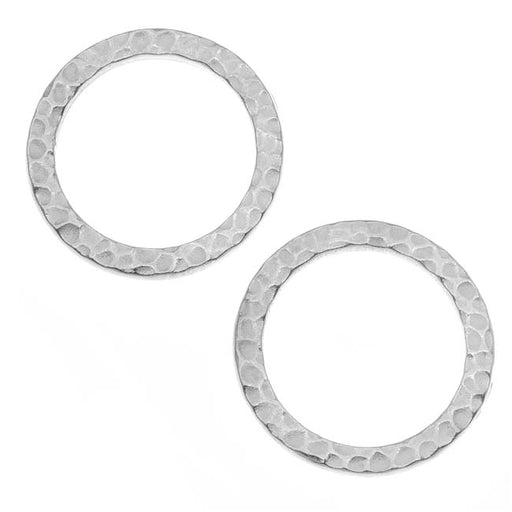 TierraCast Real Rhodium Plated Pewter Round 19mm Connector Link Ring (2)