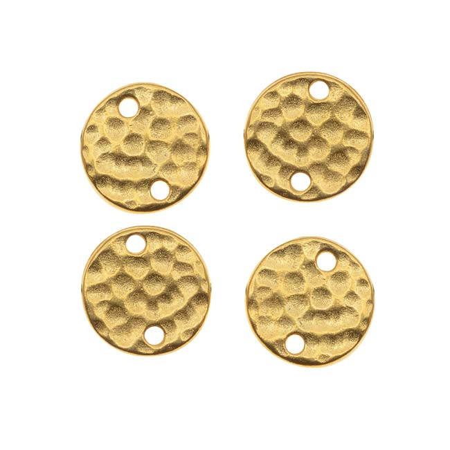 TierraCast Real 22K Gold Plated Pewter 11mm Hammered Round Connectors (4)