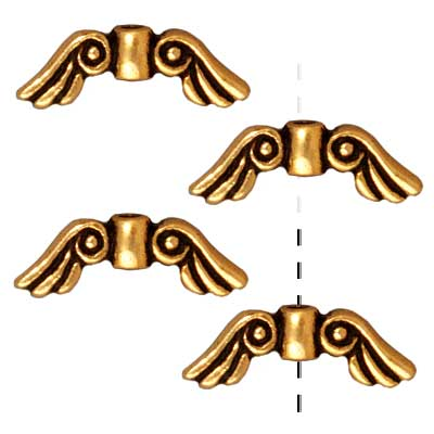 TierraCast 22K Gold Plated Pewter Angel Wing Beads 14mm (4)
